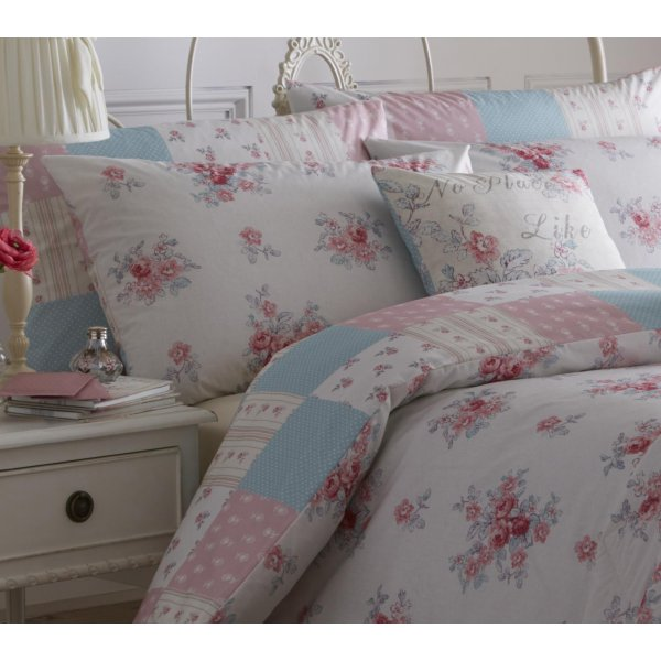 Dreams N Drapes Patsy Rose Floral Reversible Patchwork Bedding Collection
