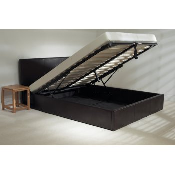 Emporia beds Madrid brown faux leather storage bed
