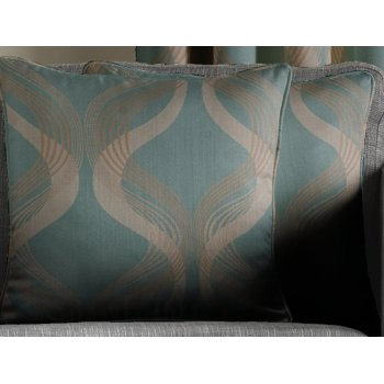 Jeff banks home Cyrus teal cushion cover, 43cm