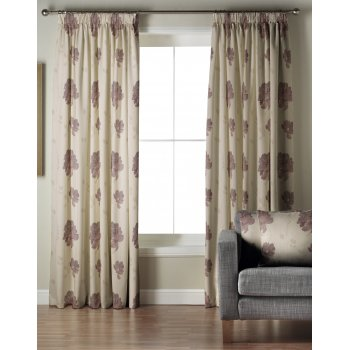 Whiteheads Mozart aubergine pencil pleat lined curtained