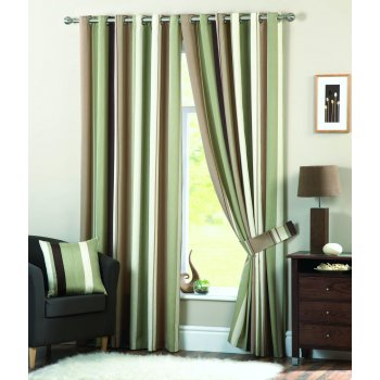 Dreams n drapes Whitworth green readymade eyelet curtains