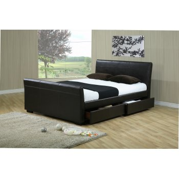 Time living Houston brown faux leather sleigh bed
