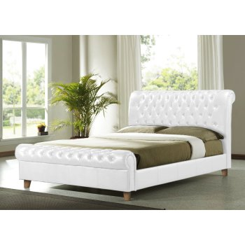 Time living Richmond white faux leather chesterfield sleigh bed