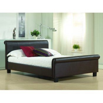 Time living Aurora brown faux leather sleigh bed