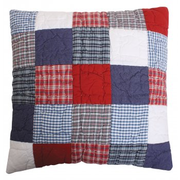 Babyface Mckenzie hand quilted navy blue and red filled cushion