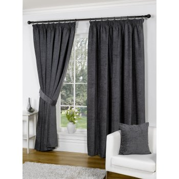 Urban living heather chenille grey pencil pleat readymade curtains