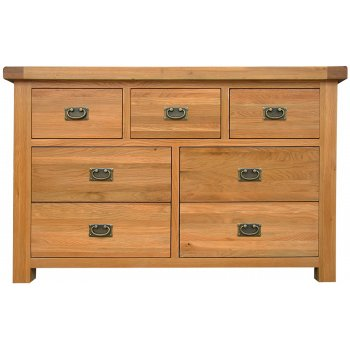 Emporium home Montreux solid oak 3 over 4 wide chest drawers