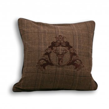 Riva paoletti Courcheval brown tartan check 43cm x 43cm feather filled cushion
