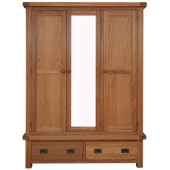 Emporium home Montreux solid oak 3 door wardrobe with mirror
