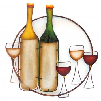 Novus imports Wine tray metal and glass handmade wall art