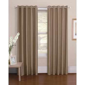 Urban living Venezia latte silk material readymade eyelet curtains