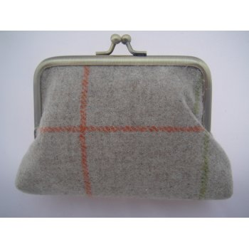 Emporium tweed company Ladies coin purse richmond check natural multi moons fabric