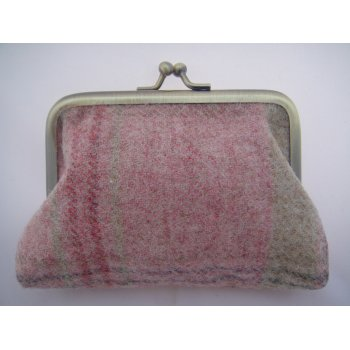 Emporium tweed company Ladies coin purse plaid candy check moons fabric