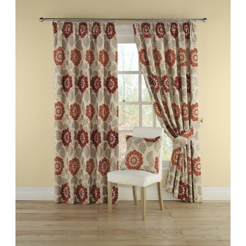 Montgomery Annoushka red floral pencil pleated readymade curtains