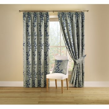 Montgomery Botanica teal pencil pleat readymade curtains