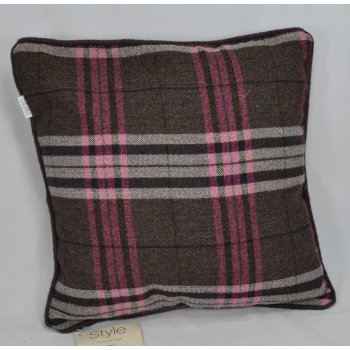 Style furnishings Chequers aubergine piped cushion cover, 43cm