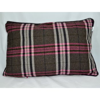 Style furnishings Chequers aubergine 60cm x 40cm rectangle piped cushion cover