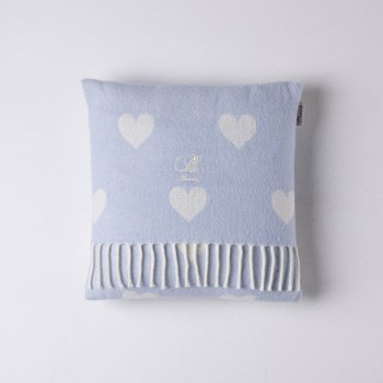 Bronte hearts baby blue lambswool cushion feather filled