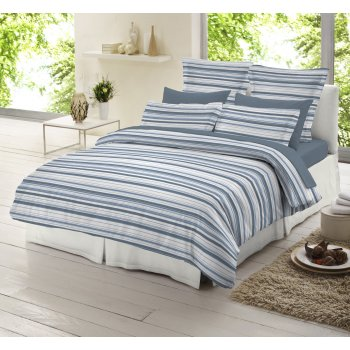 Dormisette Blue and white striped 100% brushed cotton duvet cover
