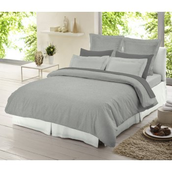 Dormisette Light grey chambray 100% brushed cotton duvet cover