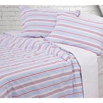 Design port Cornwall cream and linen striped pure cotton poplin duvet cover