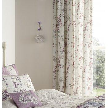 Dreams n drapes Lila lilac heather vinatge floral pencil pleat curtains