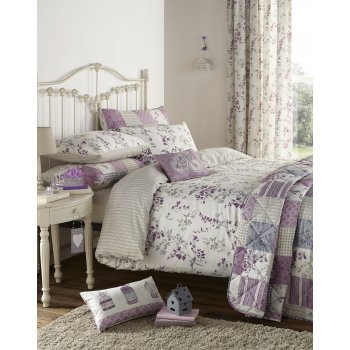 Dreams n drapes Lila lilac heather vintage floral duvet set