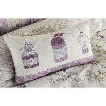 Dreams n drapes Lila lilac heather birdcage boudoir cushion 28x48cm