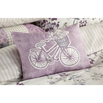 Dreams n drapes Lila lilac heather bicycle boudoir cushion 28x38cm