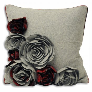 Riva paoletti Kintyre grey and red 3d florals cushion cover,45cm