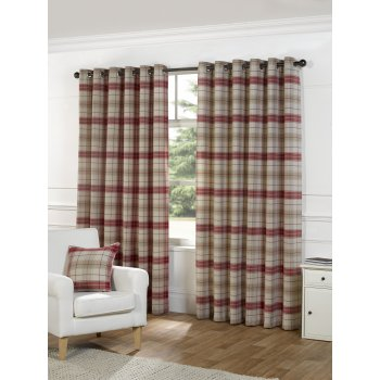 Urban living Isla berry check eyelet readymade curtains