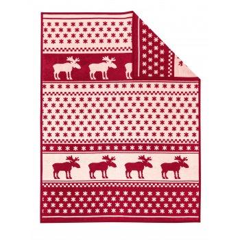 Ibena Xmas nordic red snowflake and reindeer reversible blanket 150cm x 200cm