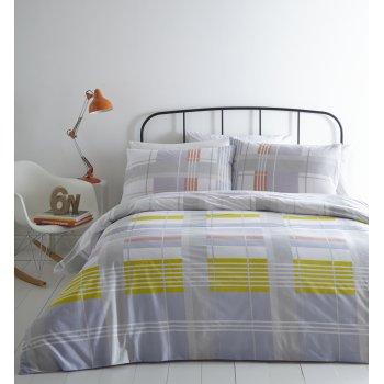Linen house Harrington check grey and orange duvet set