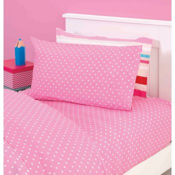 Just kidding Lily pink polka dot fitted sheet set