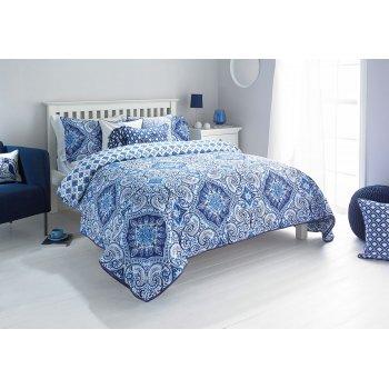 Riva paoletti Ionia indigo quilted bedspread
