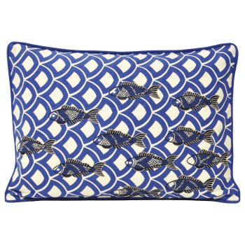 Riva paoletti Ionia indigo blue scallop cushion cover 35cm x 50cm