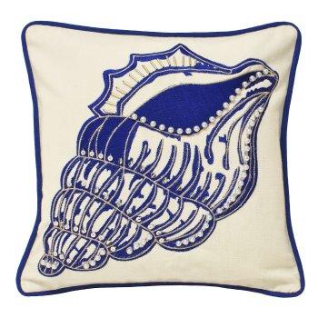Riva paoletti Ionia indigo shell cushion cover 30cm