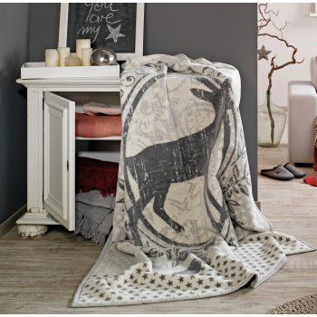 Ibena Sorrento grey wildlife jaquard blanket, 150cm x 200cm