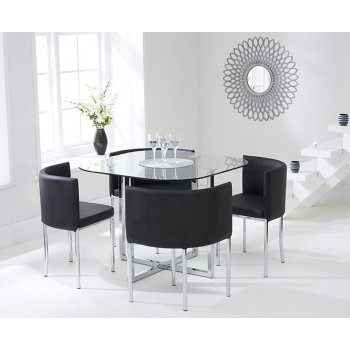 Mark harris Abingdon black stowaway glass dining set