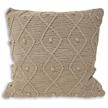 Riva paoletti Argyll taupe cotton cableknit cushion cover,55cm