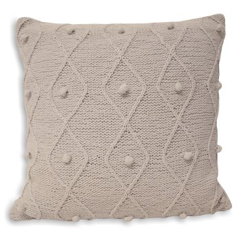 Riva paoletti Argyll light grey cotton cableknit cushion cover,55cm