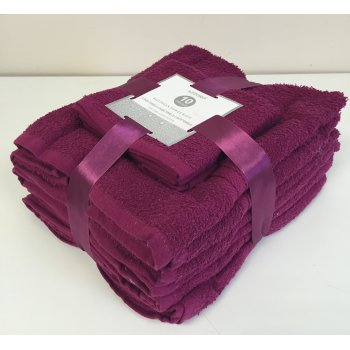 Emporium linen 10 pack cotton towel bale set - raspberry