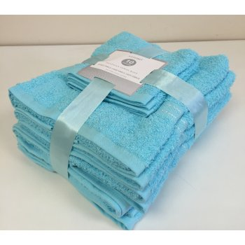 Emporium linen 10 pack cotton towel bale set - aqua