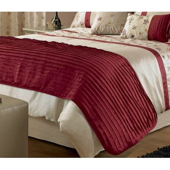 Dreams n drapes Iola red ruffle bed runner