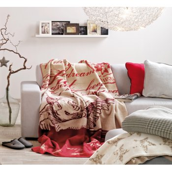 Ibena Sorrento red sleeping angel blanket, 150 x 200cm