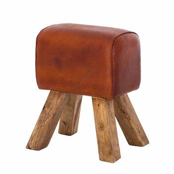 Indian hub Vintage tan turn buck stool