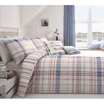 Dreams n drapes Rathmore blue check duvet set