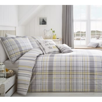 Dreams n drapes Rathmore silver check duvet set