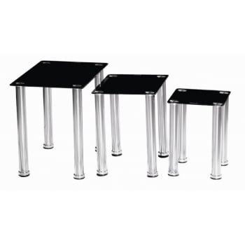 Mfs furniture Crystal black nest of tables