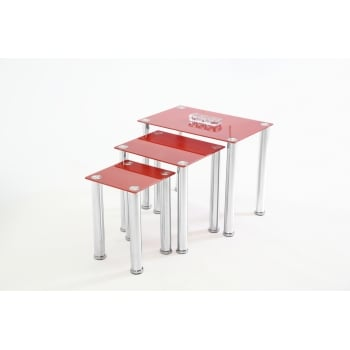 Mfs furniture Crystal red glass nest of tables
